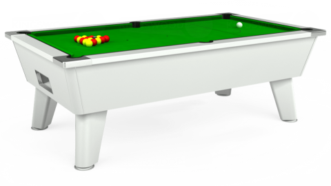 7ft Omega Free Play in White with Standard Green cloth
