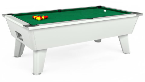 7ft Omega Free Play in White with Hainsworth Elite-Pro American Green cloth