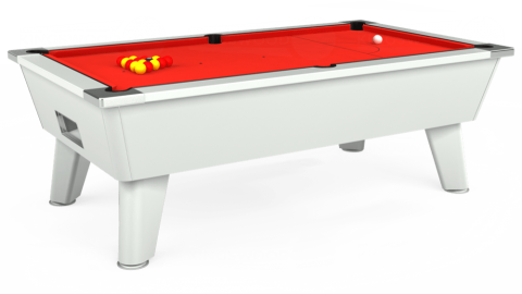 7ft Omega Free Play in White with Hainsworth Elite-Pro Bright Red cloth