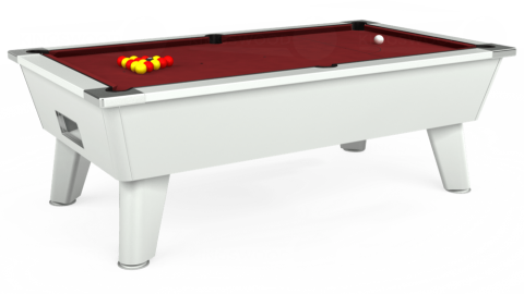 6ft Omega Free Play in White with Hainsworth Elite-Pro Burgundy cloth