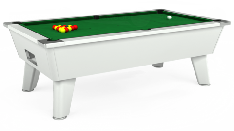 7ft Omega Free Play in White with Hainsworth Elite-Pro English Green cloth