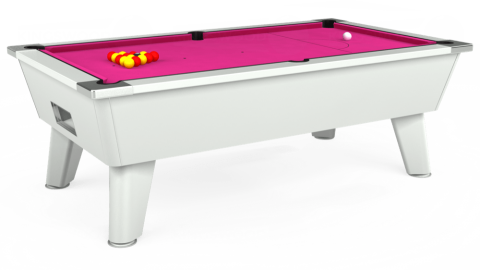7ft Omega Free Play in White with Hainsworth Elite-Pro Fuchsia cloth