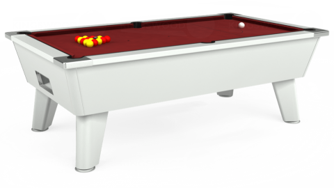 7ft Omega Free Play in White with Hainsworth Smart Maroon cloth