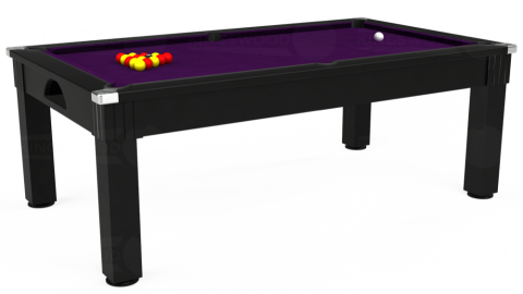 6ft Windsor Dining in Black with Hainsworth Elite-Pro Purple cloth