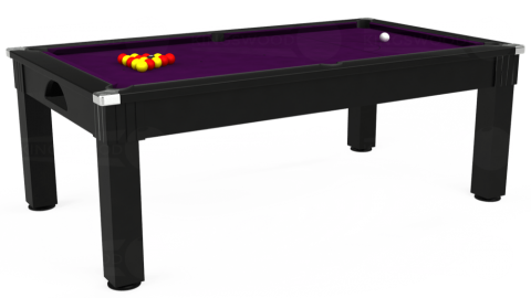 7ft Windsor Dining in Black with Hainsworth Smart Purple cloth
