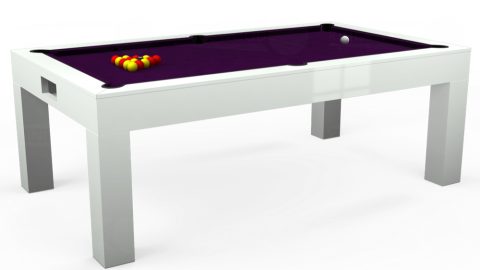 7ft Kingswood Aspen Dining in Gloss White with Hainsworth Smart Purple cloth