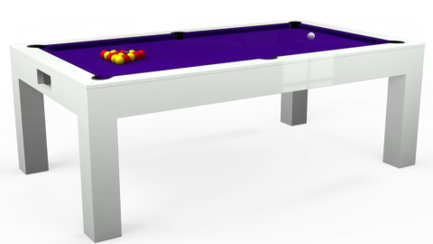 7ft Kingswood Aspen Dining in Gloss White with Standard Purple cloth