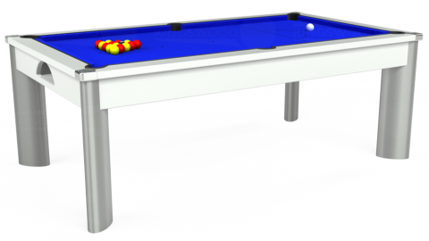 The Fusion Outdoor Pool Dining Table in white with standard blue cloth