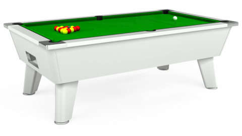 The Outback Free Play Pool Table in white with standard green cloth