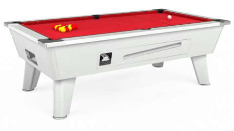 The Outback Coin Operated Pool Table in white with standard red cloth