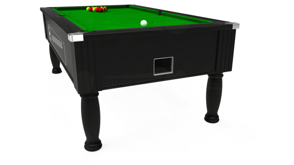 7ft Ascot Coin Operated Pool Table in Black with Standard Green cloth delivered and installed - £1,290.00