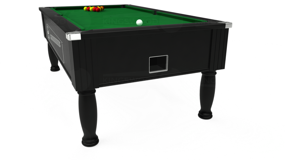 7ft Ascot Coin Operated Pool Table in Black with Hainsworth Elite-Pro English Green cloth delivered and installed - £1,390.00