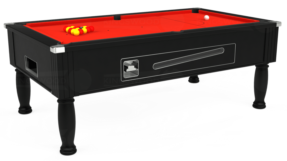 7ft Ascot Coin Operated Pool Table in Black with Hainsworth Smart Orange cloth delivered and installed - £1,390.00