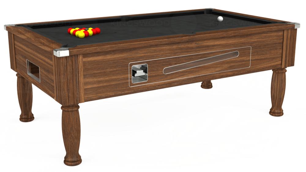 7ft Ascot Coin Operated Pool Table in Dark Walnut with Standard Black cloth delivered and installed - £1,125.00
