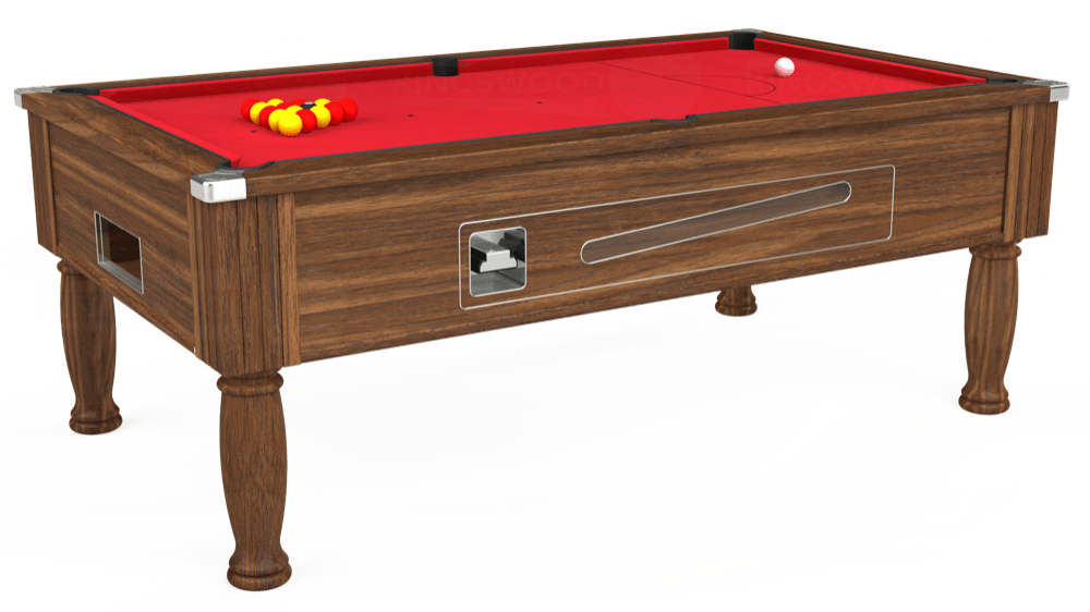 7ft Ascot Coin Operated Pool Table in Dark Walnut with Standard Red cloth delivered and installed - £1,125.00