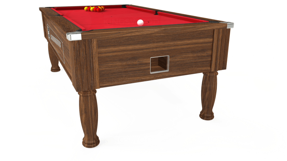 7ft Ascot Coin Operated Pool Table in Dark Walnut with Standard Red cloth delivered and installed - £1,270.00
