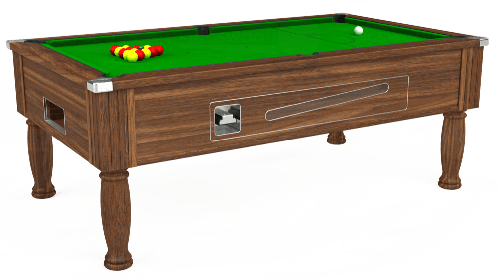 7ft Ascot Coin Operated Pool Table in Dark Walnut with Standard Green cloth delivered and installed - £1,125.00