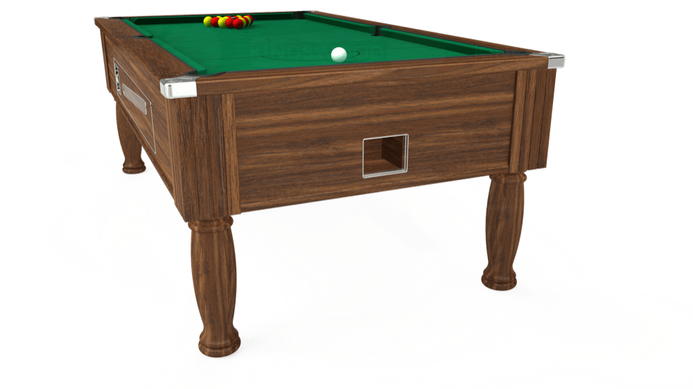 7ft Ascot Coin Operated Pool Table in Dark Walnut with Hainsworth Elite-Pro American Green cloth delivered and installed - £1,225.00