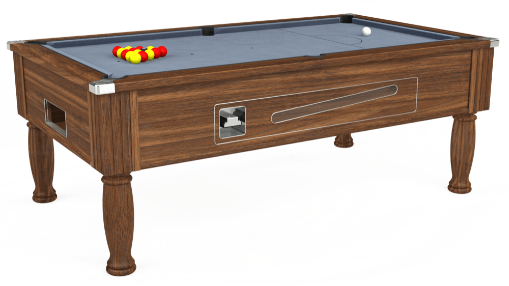 7ft Ascot Coin Operated Pool Table in Dark Walnut with Hainsworth Elite-Pro Bankers Grey cloth delivered and installed - £1,270.00