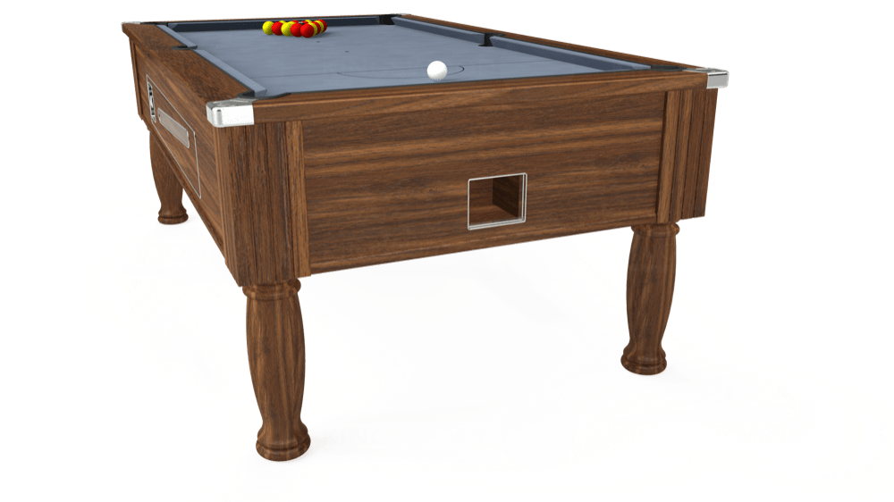7ft Ascot Coin Operated Pool Table in Dark Walnut with Hainsworth Elite-Pro Bankers Grey cloth delivered and installed - £1,300.00