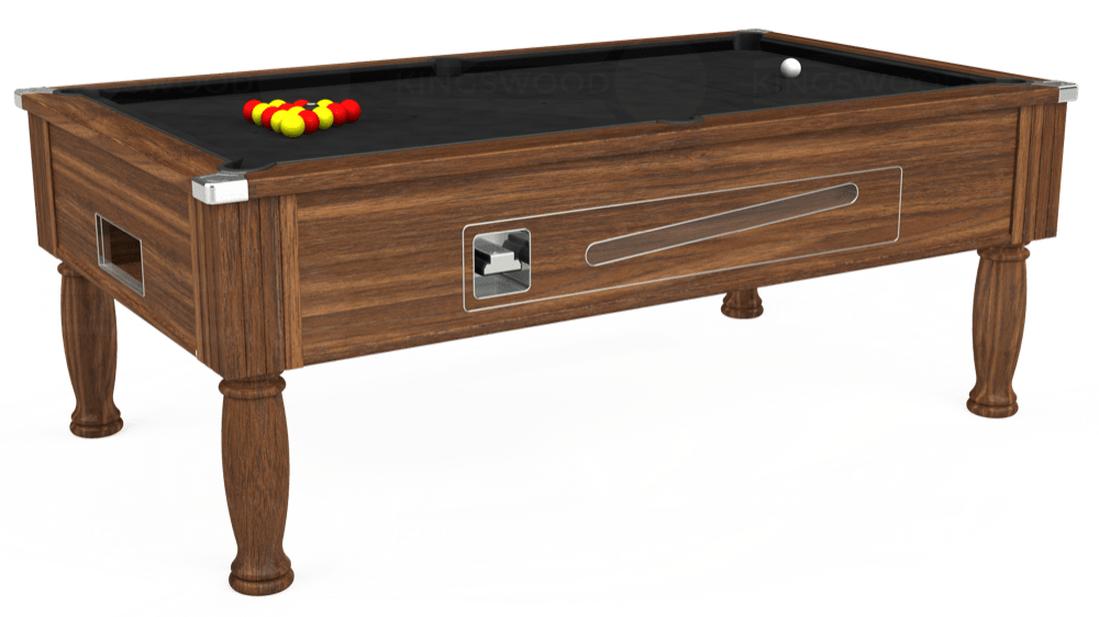 7ft Ascot Coin Operated Pool Table in Dark Walnut with Hainsworth Elite-Pro Black cloth delivered and installed - £1,370.00