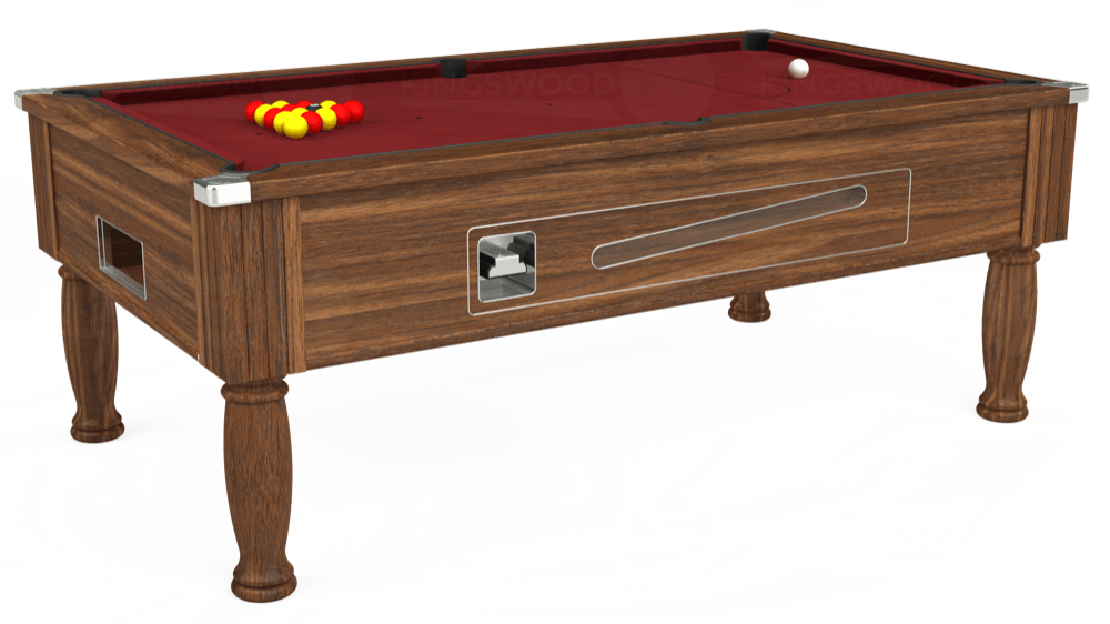 7ft Ascot Coin Operated Pool Table in Dark Walnut with Hainsworth Elite-Pro Burgundy cloth delivered and installed - £1,270.00