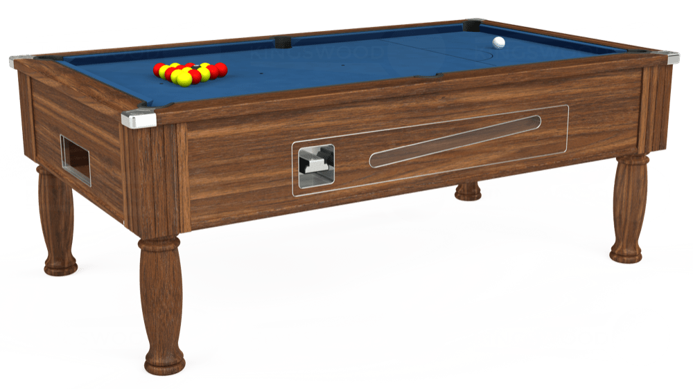 7ft Ascot Coin Operated Pool Table in Dark Walnut with Hainsworth Elite-Pro Cadet Blue cloth delivered and installed - £1,225.00