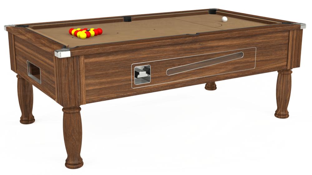 7ft Ascot Coin Operated Pool Table in Dark Walnut with Hainsworth Elite-Pro Camel cloth delivered and installed - £1,225.00