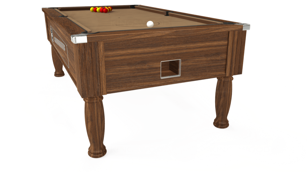 7ft Ascot Coin Operated Pool Table in Dark Walnut with Hainsworth Elite-Pro Camel cloth delivered and installed - £1,370.00