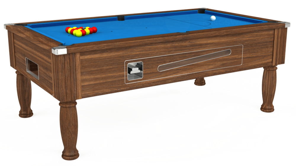 7ft Ascot Coin Operated Pool Table in Dark Walnut with Hainsworth Elite-Pro Electric Blue cloth delivered and installed - £1,270.00