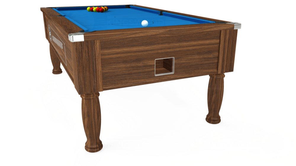 7ft Ascot Coin Operated Pool Table in Dark Walnut with Hainsworth Elite-Pro Electric Blue cloth delivered and installed - £1,300.00