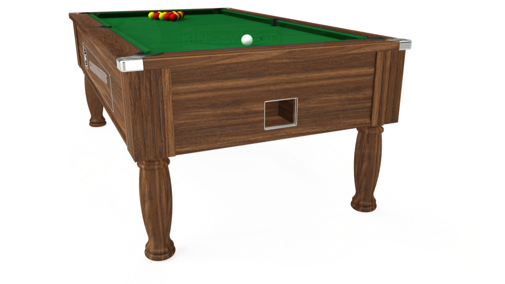 7ft Ascot Coin Operated Pool Table in Dark Walnut with Hainsworth Elite-Pro English Green cloth delivered and installed - £1,300.00