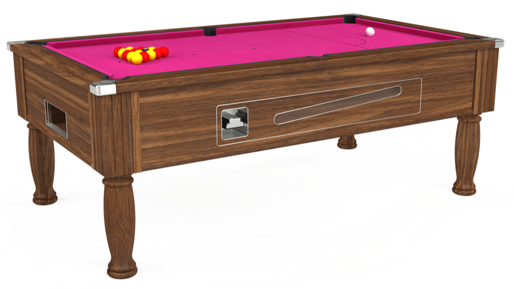 7ft Ascot Coin Operated Pool Table in Dark Walnut with Hainsworth Elite-Pro Fuchsia cloth delivered and installed - £1,370.00