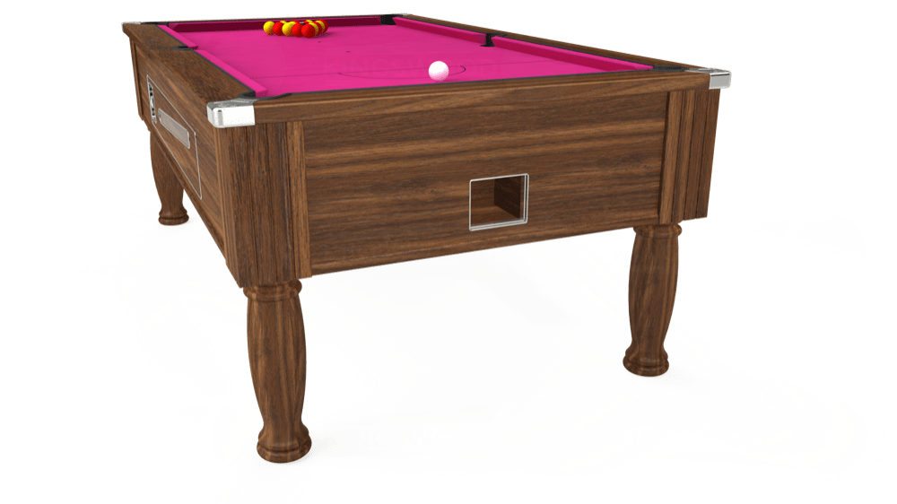 7ft Ascot Coin Operated Pool Table in Dark Walnut with Hainsworth Elite-Pro Fuchsia cloth delivered and installed - £1,270.00