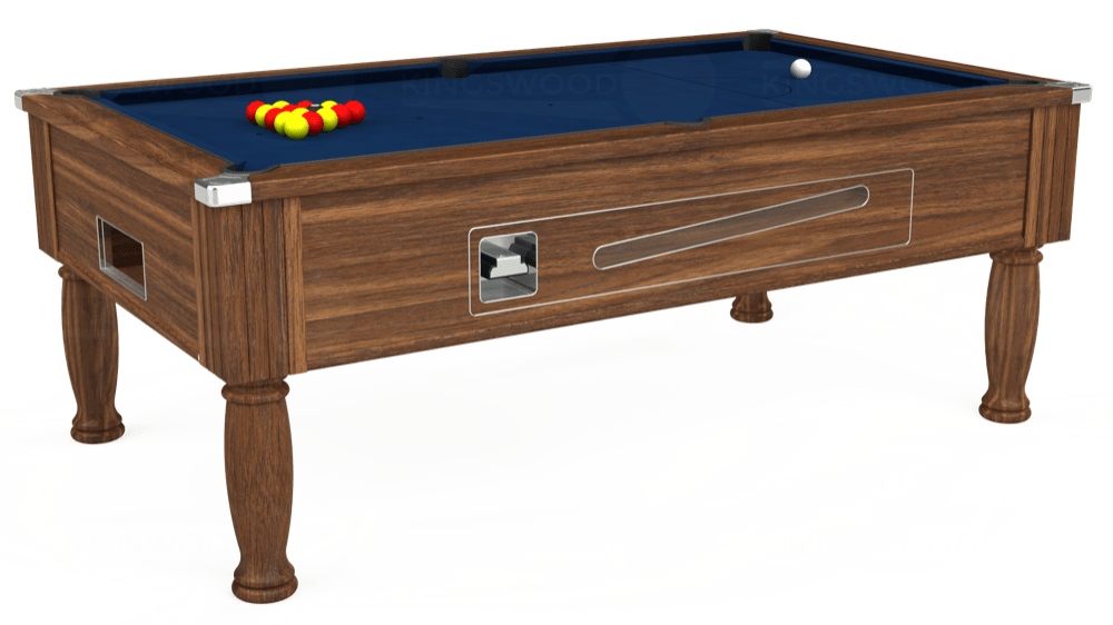 7ft Ascot Coin Operated Pool Table in Dark Walnut with Hainsworth Elite-Pro Marine Blue cloth delivered and installed - £1,270.00