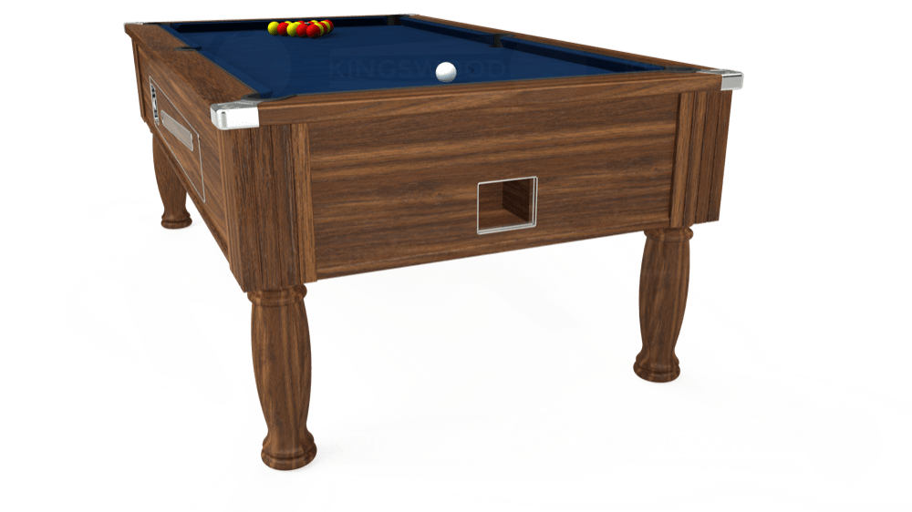 7ft Ascot Coin Operated Pool Table in Dark Walnut with Hainsworth Elite-Pro Marine Blue cloth delivered and installed - £1,370.00