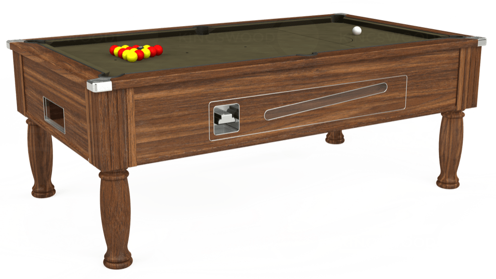 7ft Ascot Coin Operated Pool Table in Dark Walnut with Hainsworth Elite-Pro Olive cloth delivered and installed - £1,370.00