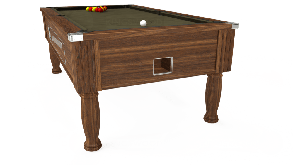 7ft Ascot Coin Operated Pool Table in Dark Walnut with Hainsworth Elite-Pro Olive cloth delivered and installed - £1,270.00