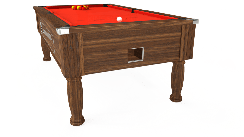 7ft Ascot Coin Operated Pool Table in Dark Walnut with Hainsworth Elite-Pro Orange cloth delivered and installed - £1,225.00