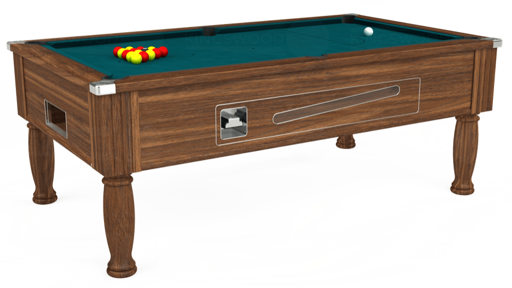 7ft Ascot Coin Operated Pool Table in Dark Walnut with Hainsworth Elite-Pro Petrol Blue cloth delivered and installed - £1,370.00