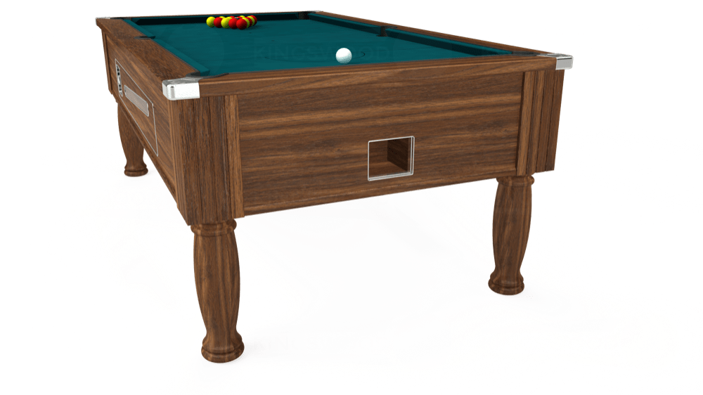 7ft Ascot Coin Operated Pool Table in Dark Walnut with Hainsworth Elite-Pro Petrol Blue cloth delivered and installed - £1,270.00