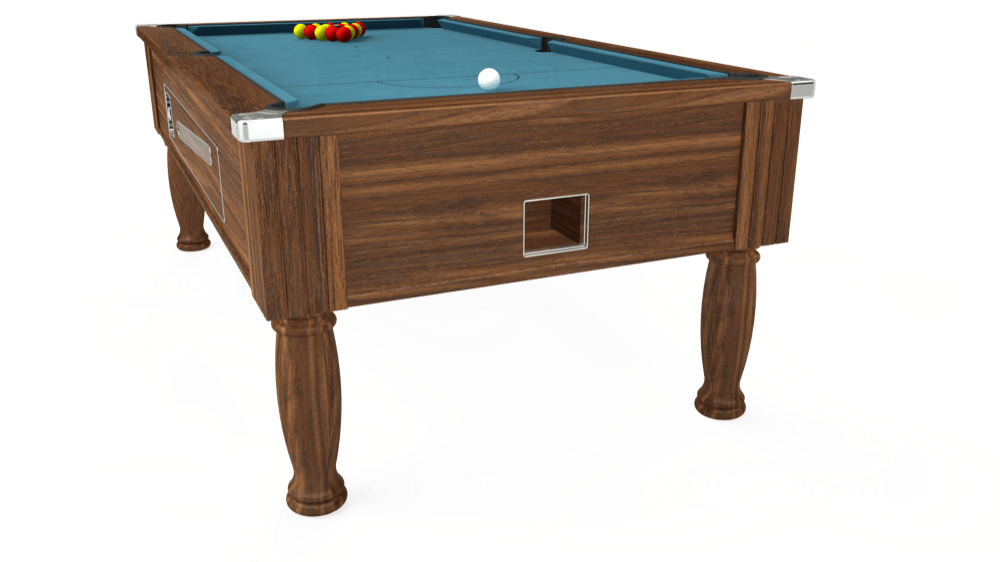 7ft Ascot Coin Operated Pool Table in Dark Walnut with Hainsworth Elite-Pro Powder Blue cloth delivered and installed - £1,270.00