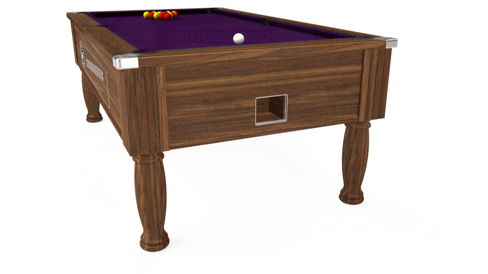 7ft Ascot Coin Operated Pool Table in Dark Walnut with Hainsworth Elite-Pro Purple cloth delivered and installed - £1,270.00