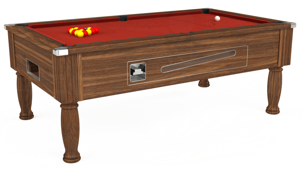 7ft Ascot Coin Operated Pool Table in Dark Walnut with Hainsworth Elite-Pro Red cloth delivered and installed - £1,225.00