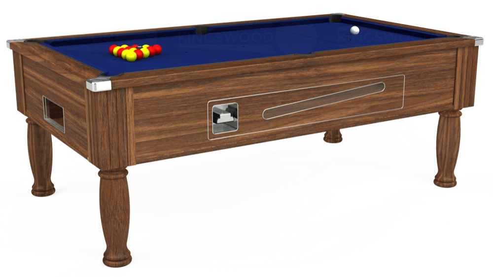 7ft Ascot Coin Operated Pool Table in Dark Walnut with Hainsworth Elite-Pro Royal Blue cloth delivered and installed - £1,225.00
