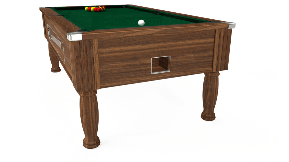 7ft Ascot Coin Operated Pool Table in Dark Walnut with Hainsworth Elite-Pro Spruce cloth delivered and installed - £1,225.00