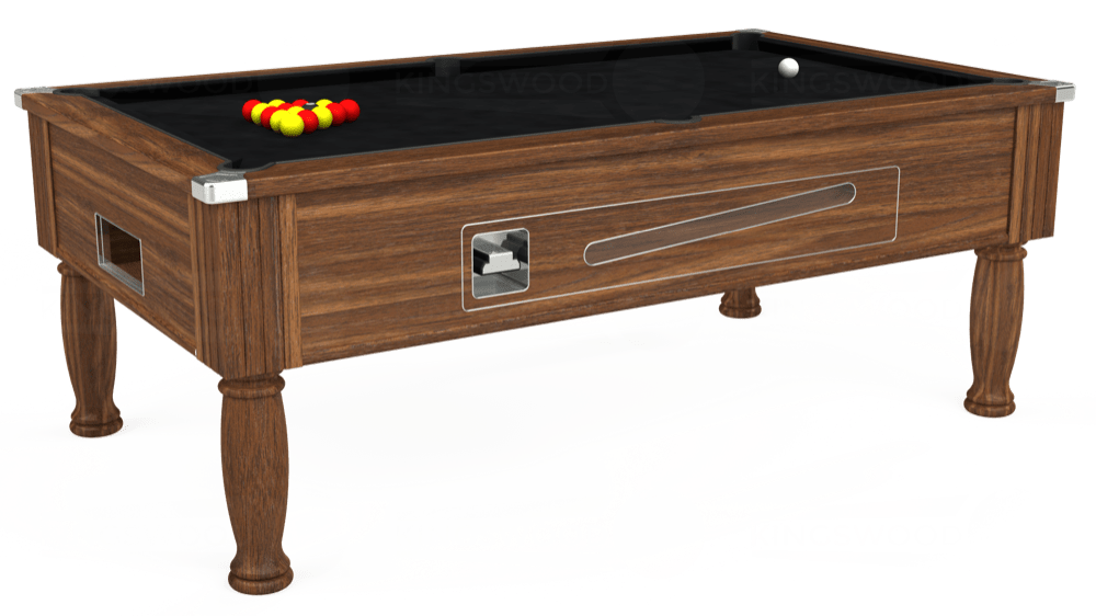 7ft Ascot Coin Operated Pool Table in Dark Walnut with Hainsworth Smart Black cloth delivered and installed - £1,270.00