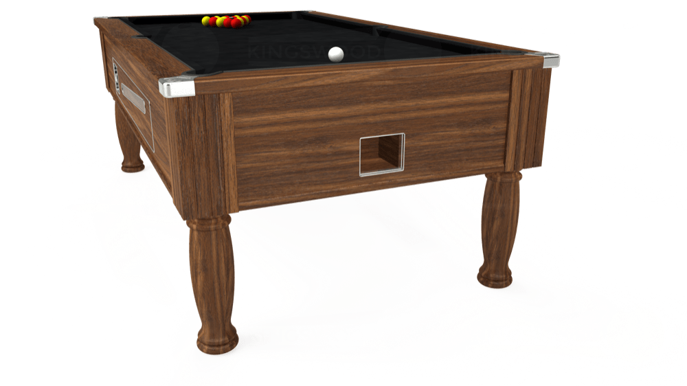 7ft Ascot Coin Operated Pool Table in Dark Walnut with Hainsworth Smart Black cloth delivered and installed - £1,225.00