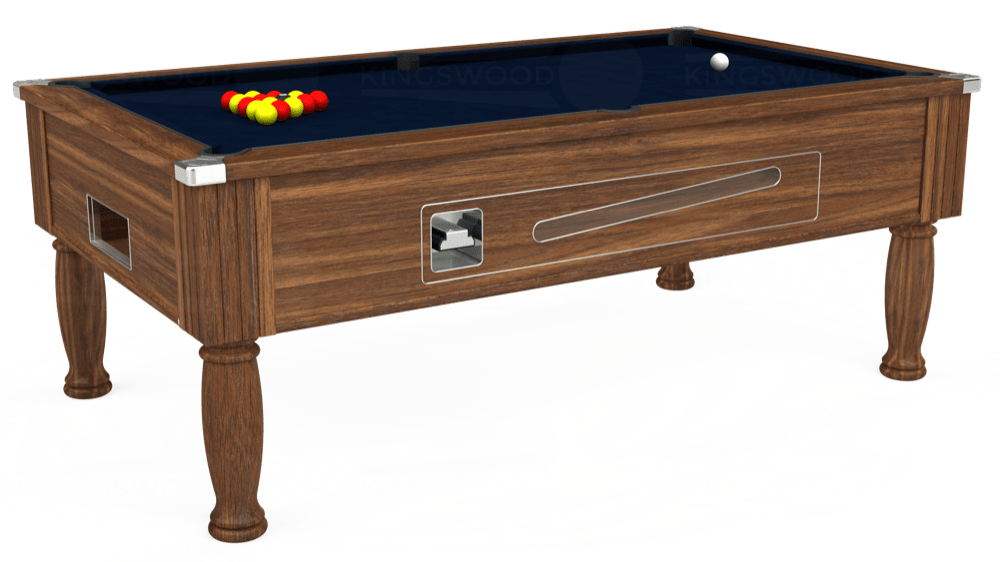7ft Ascot Coin Operated Pool Table in Dark Walnut with Hainsworth Smart French Navy cloth delivered and installed - £1,270.00