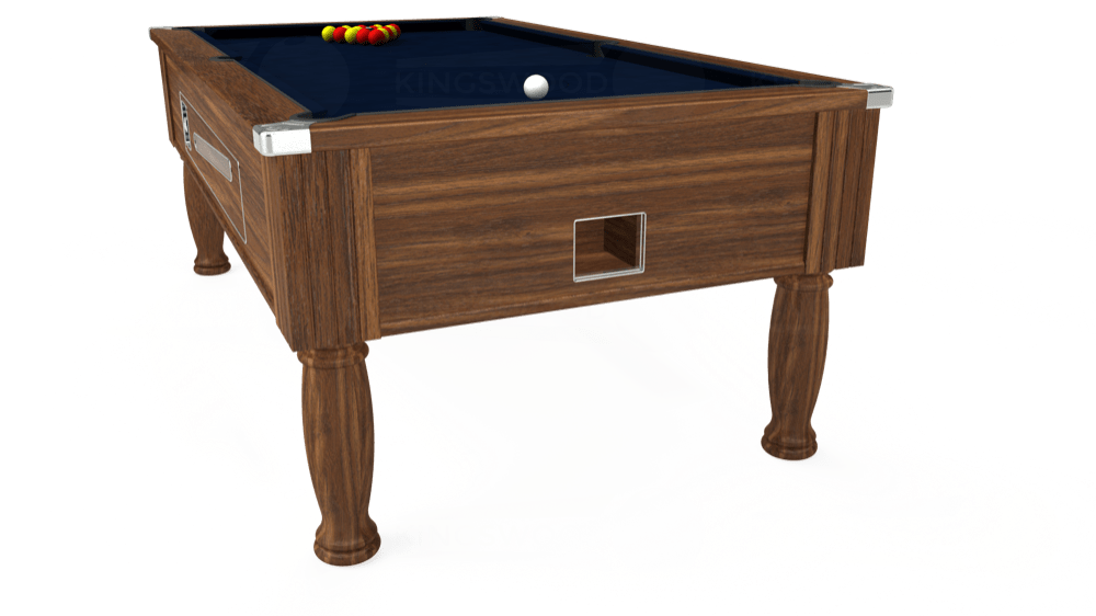7ft Ascot Coin Operated Pool Table in Dark Walnut with Hainsworth Smart French Navy cloth delivered and installed - £1,370.00